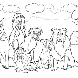 Ausmalbild-Hund-Gruppenbild