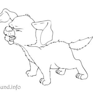 Ausmalbild-Hund-bellt
